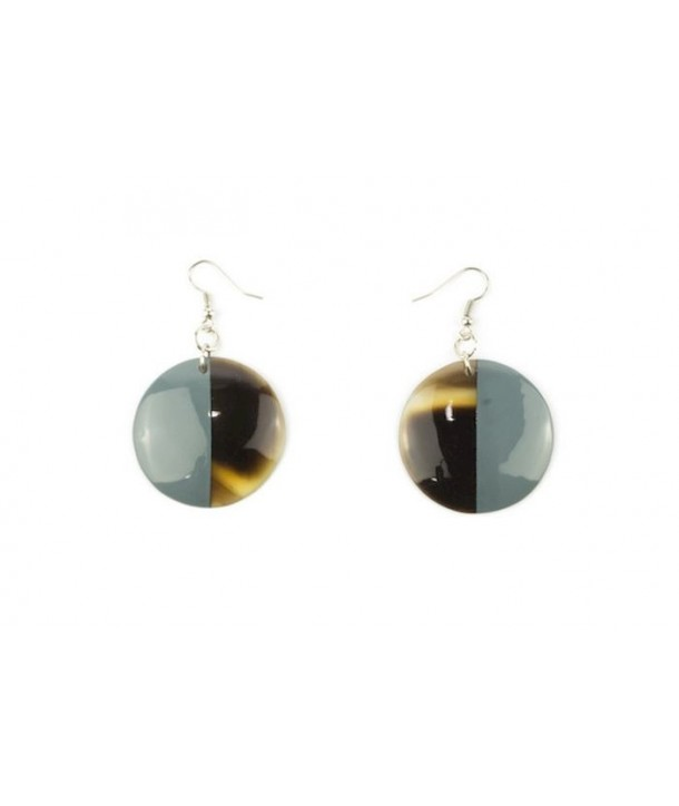 Full disc gray-blue lacquered earrings