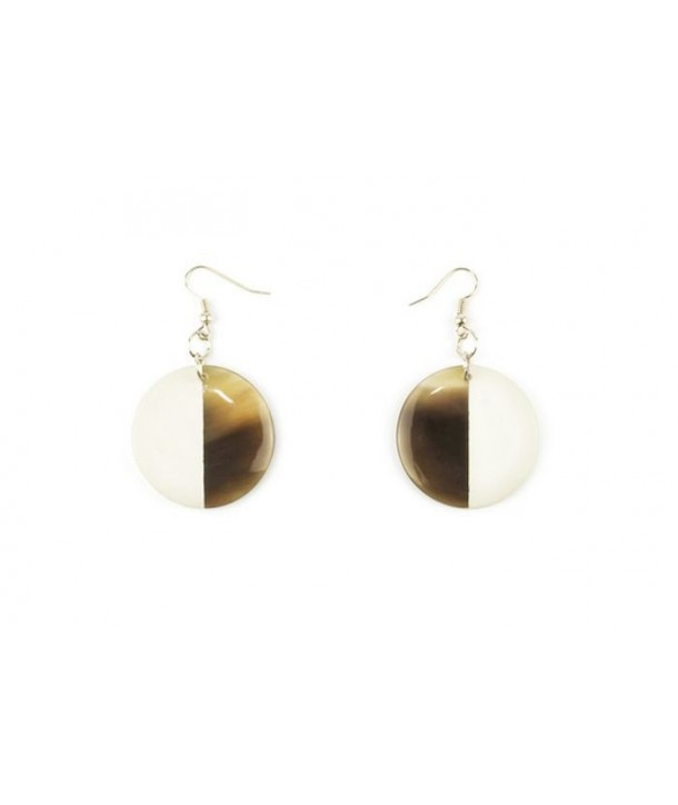 Full disc ivory lacquered earrings