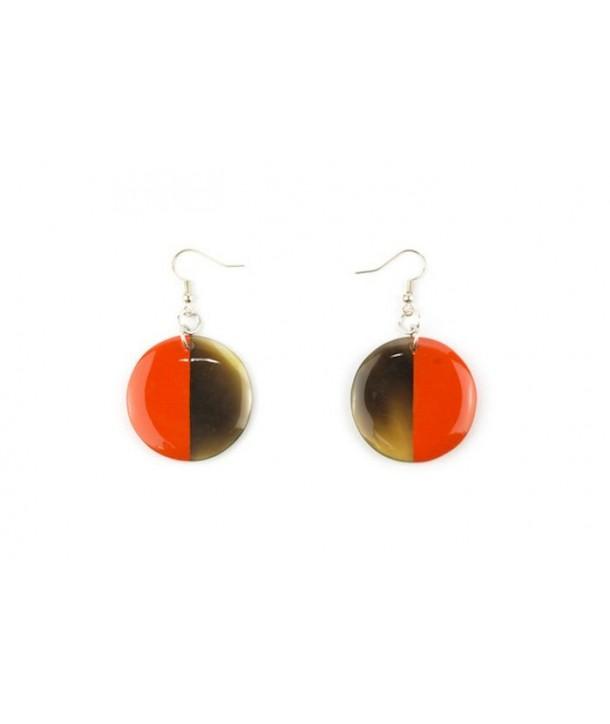Boucles d'oreilles disque plein laqué orange