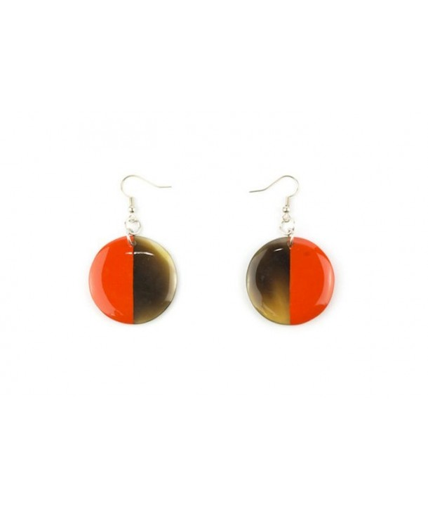 Full disc orange lacquered earrings