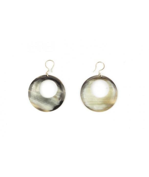 Pierced disc earrings in marbled black horn