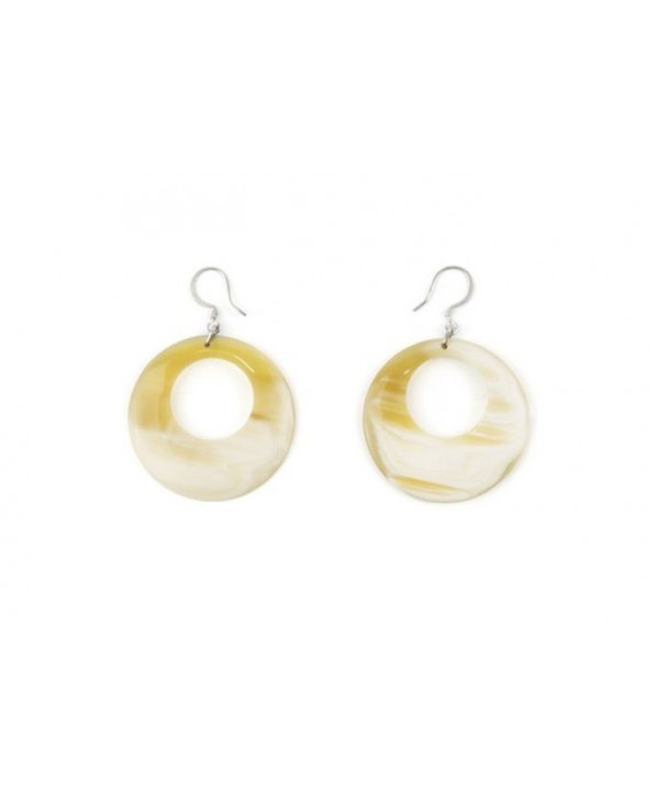 Pierced disk earrings in blond horn