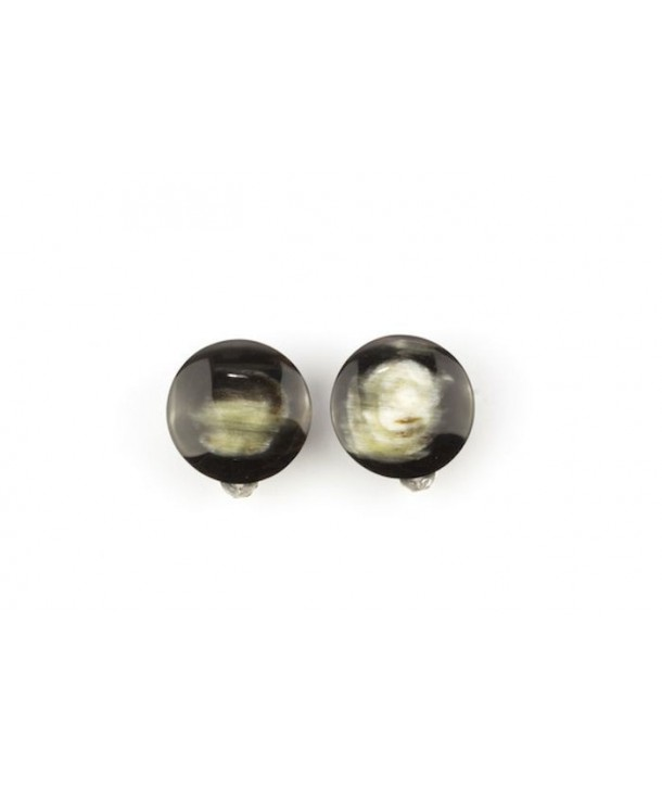 Disc earrings with ear-clip in marbled black horn
