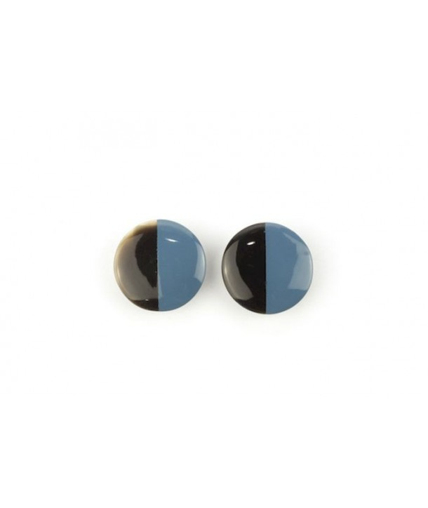 Disc earrings with ear-clip and gray-blue lacquer
