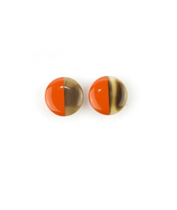 Boucles d'oreilles disque laqué àclip orange