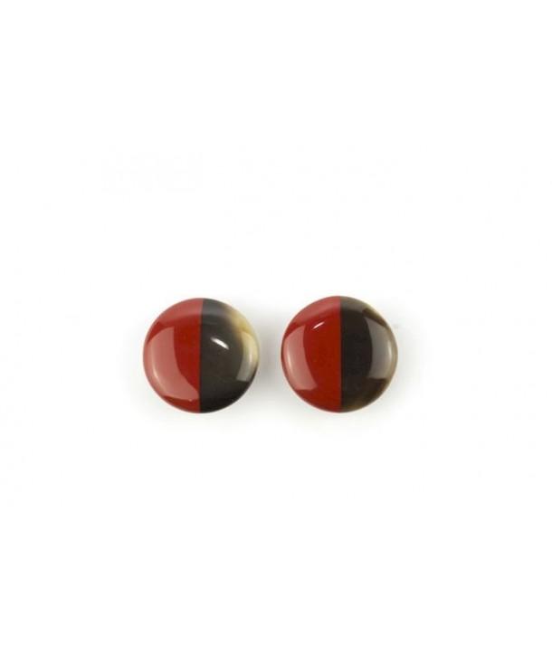 Boucles d'oreilles disque laqué àclip rouge