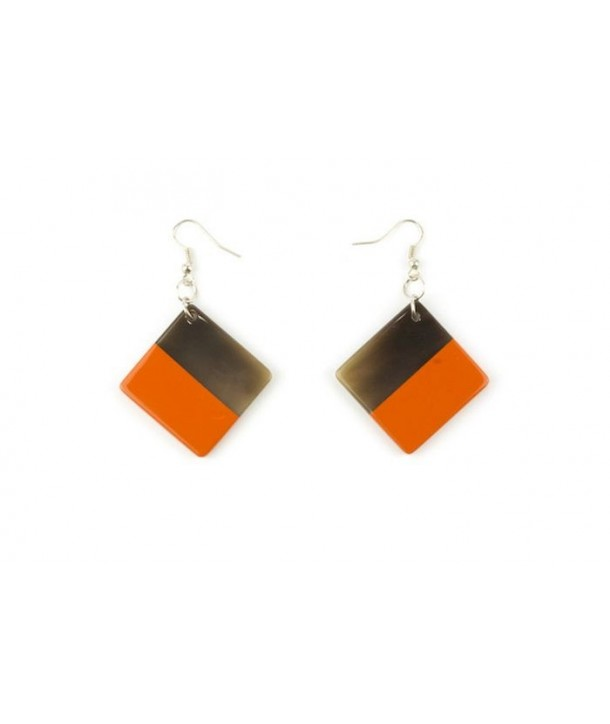 Orange lacquered square earrings