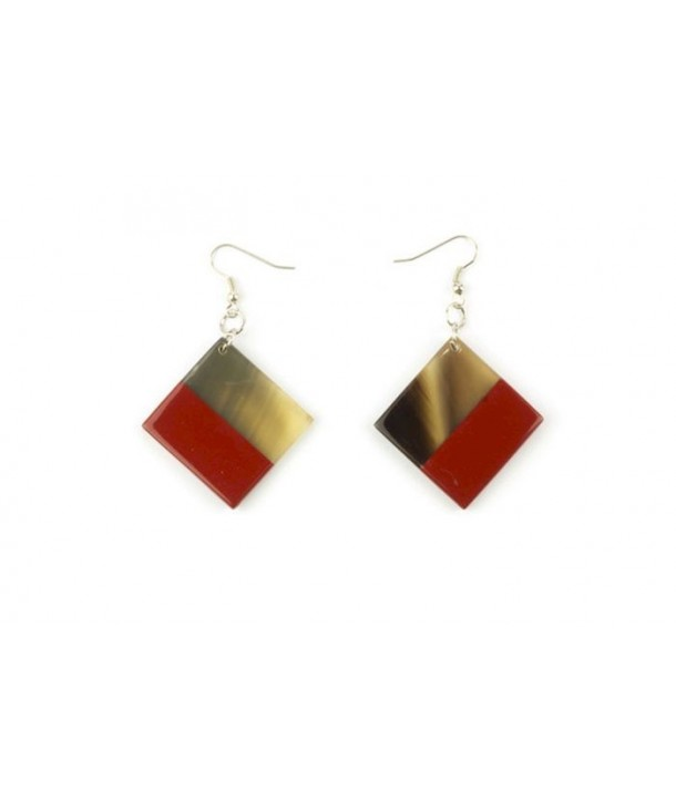 Red lacquered square earrings