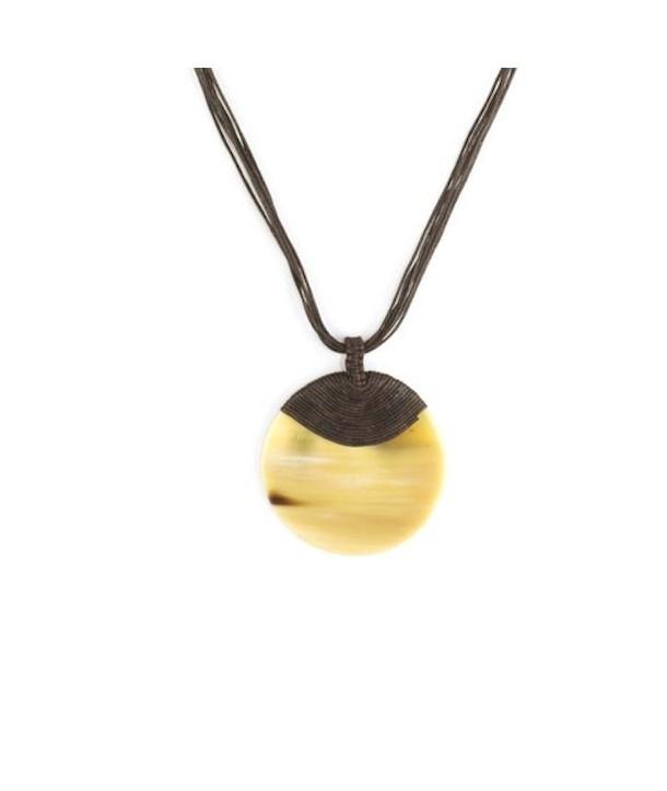 Blond horn medallion disc cladding cotton brown wire