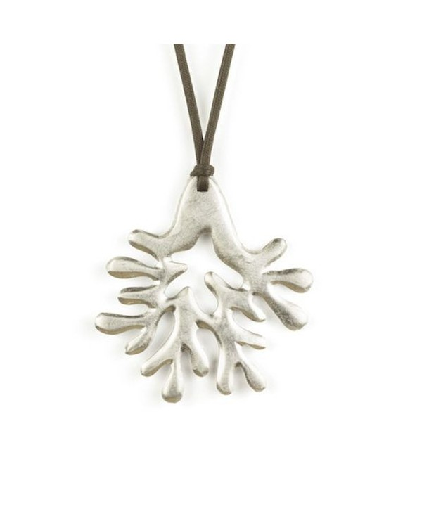 Large silver lacquered coral pendant