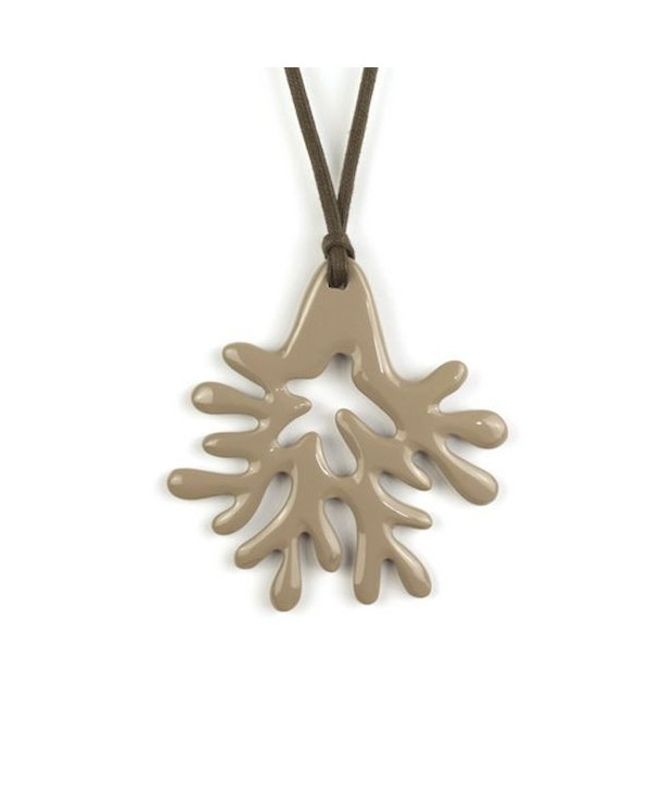Large cream coffee lacquered coral pendant