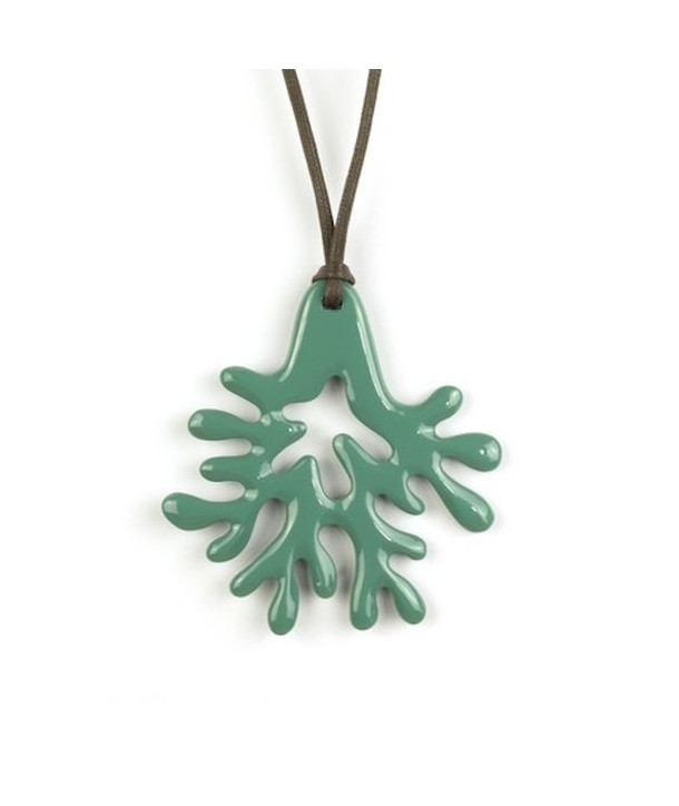 Large emerald green lacquered coral pendant
