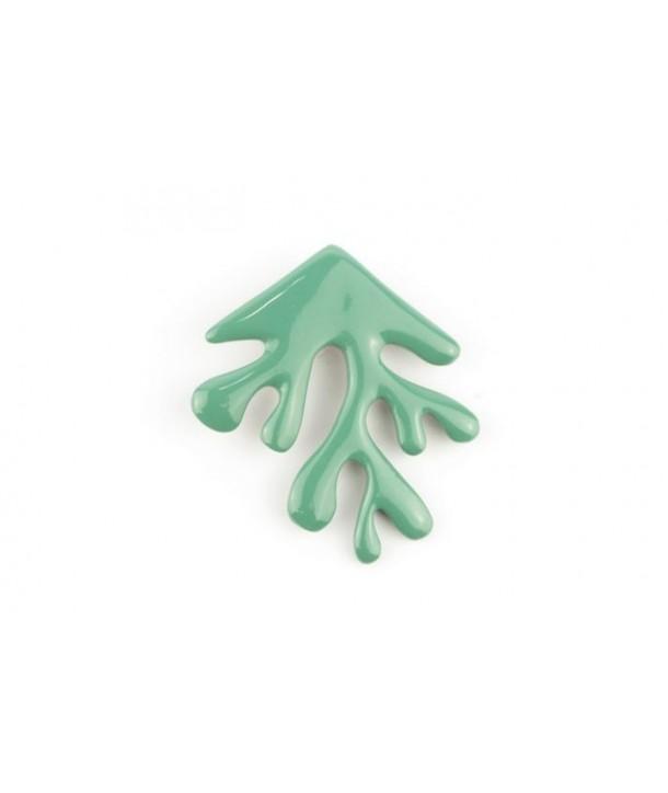 Broche corail laquée vert émeraude