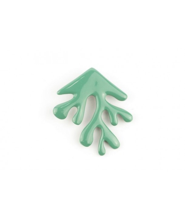 Emerald green lacquered coral brooch