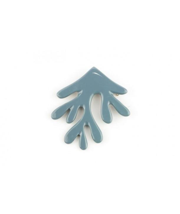 Broche corail laquée gris-bleu