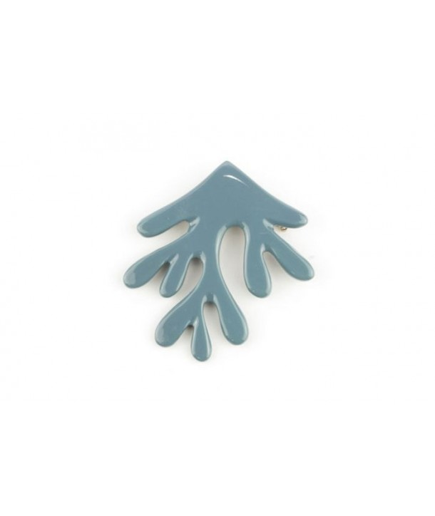 Gray-blue lacquered coral brooch