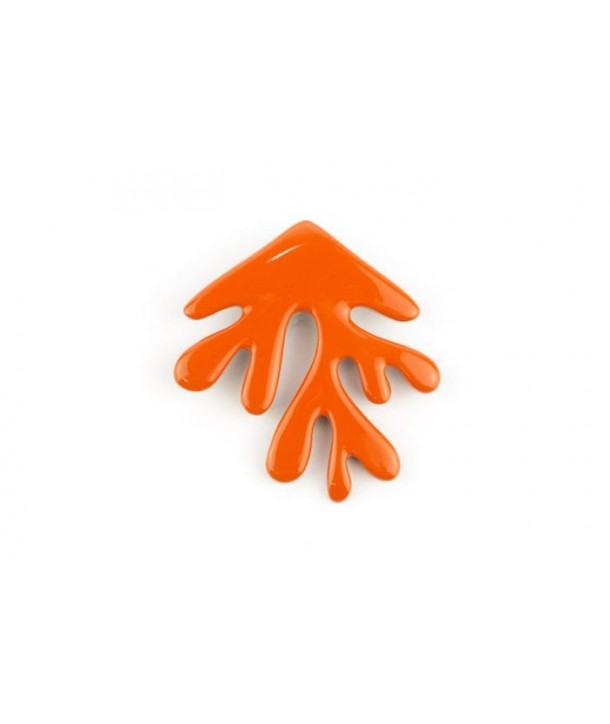 Orange lacquered coral brooch