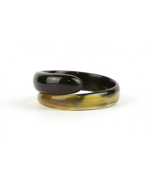 Bracelet serpent en corne noire marbrée