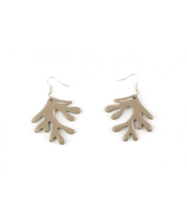 Cream-coffee lacquered coral earrings