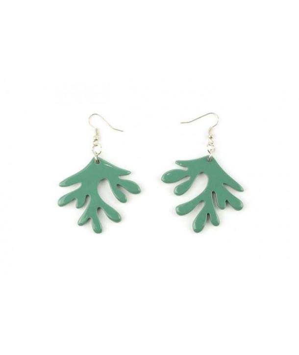Boucles d'oreilles corail laquées vert émeraude