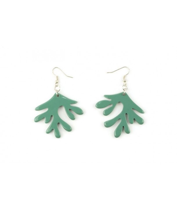 Emerald green lacquered coral earrings