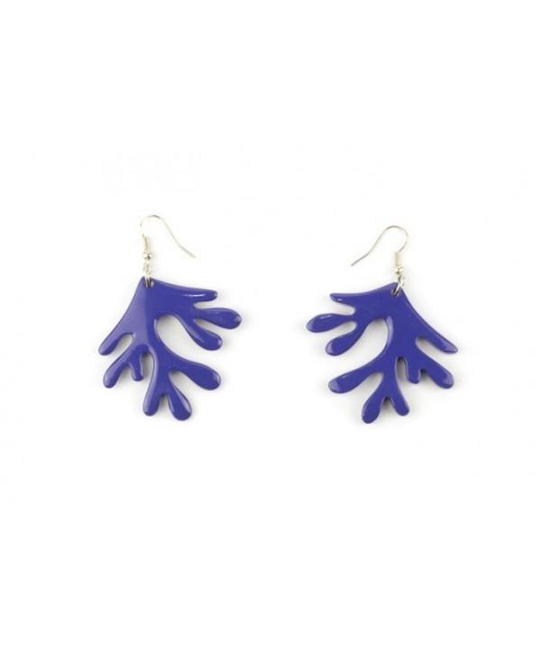 Boucles d'oreilles corail laquées indigo