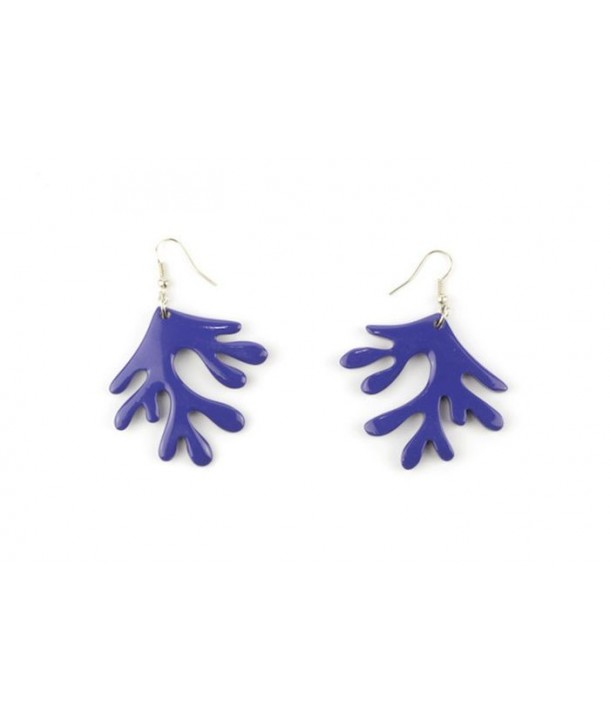 Indigo lacquered coral earrings
