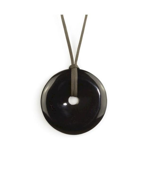 Pendentif disque percé en corne noire unie
