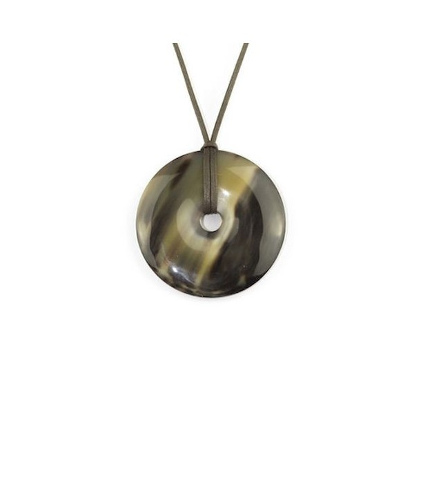 Perforated disc pendant in marbled black horn