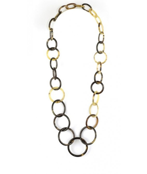 Round rings long necklace in blond horn