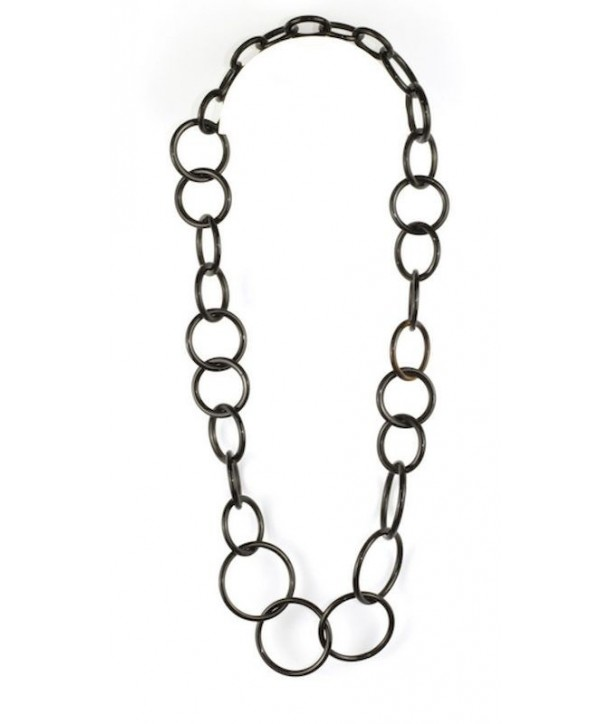 Round rings long necklace in plain black horn