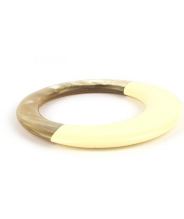 Broad ivory lacquered elliptical bracelet