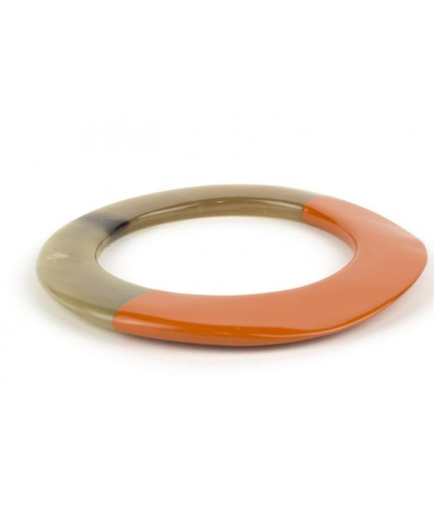 Broad orange lacquered elliptical bracelet