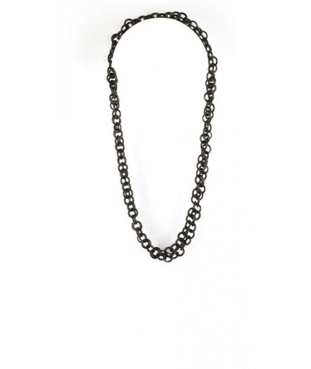 Grand sautoir petits anneaux ronds en corne noire unie