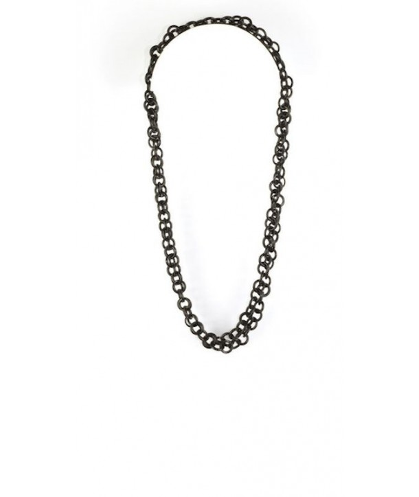 Small round rings long necklace in plain black horn