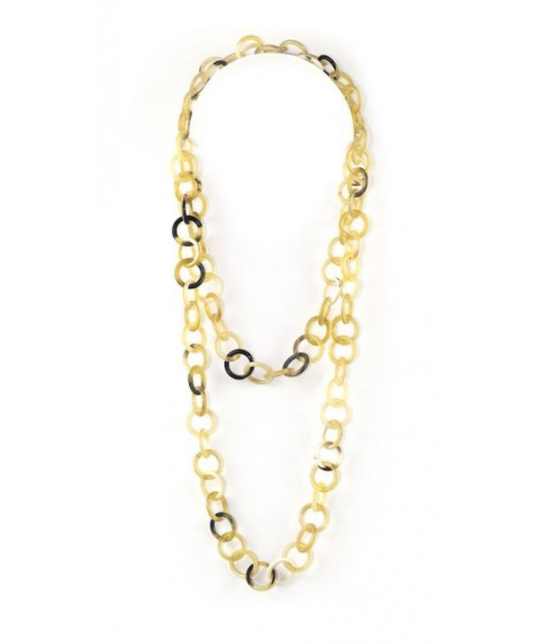 Medium size round rings long necklace in blond horn