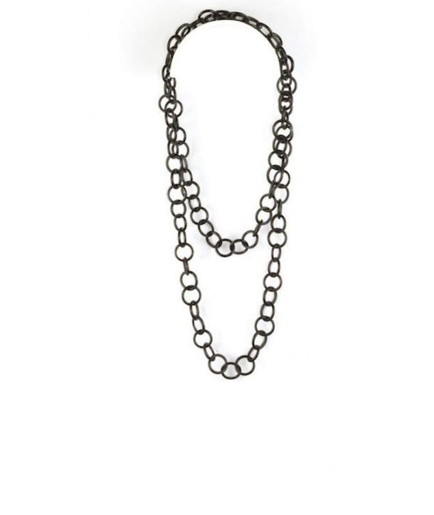 Medium size round rings long necklace in plain black horn