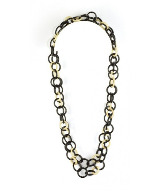 Medium size round rings long necklace in black horn and bone