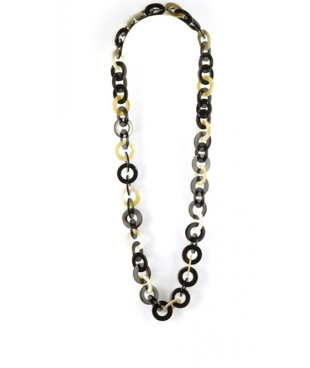 Flat rings long necklace in blond and black horn