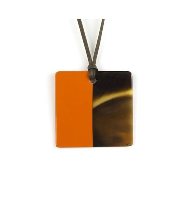 Pendentif carré laqué orange