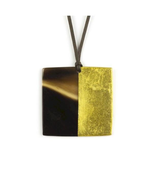 Pendentif carré laqué or