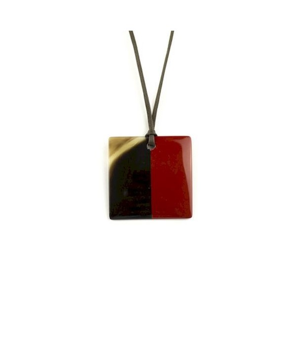 Red lacquered square pendant