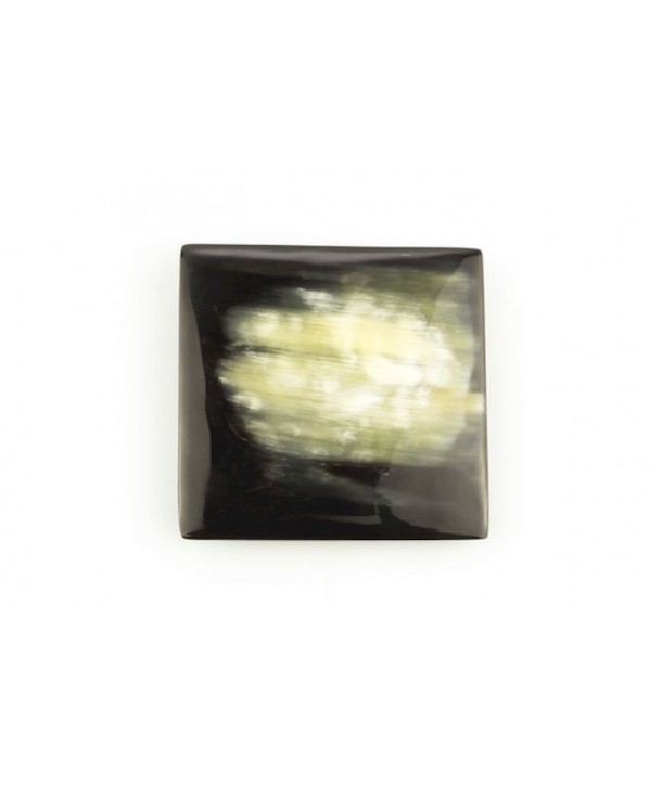 Square brooch in marbled black horn