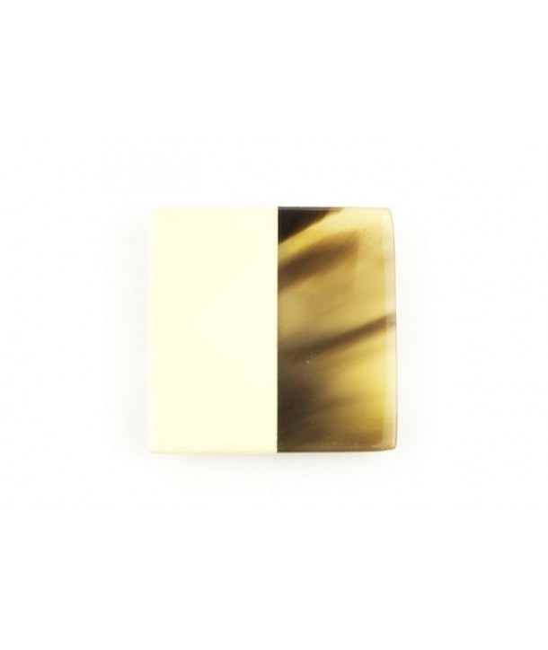 Ivory lacquered square brooch