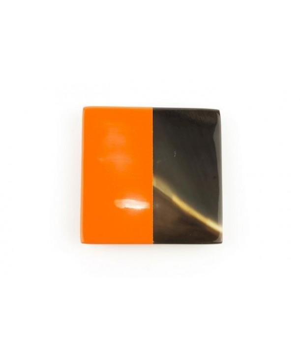Orange lacquered square brooch