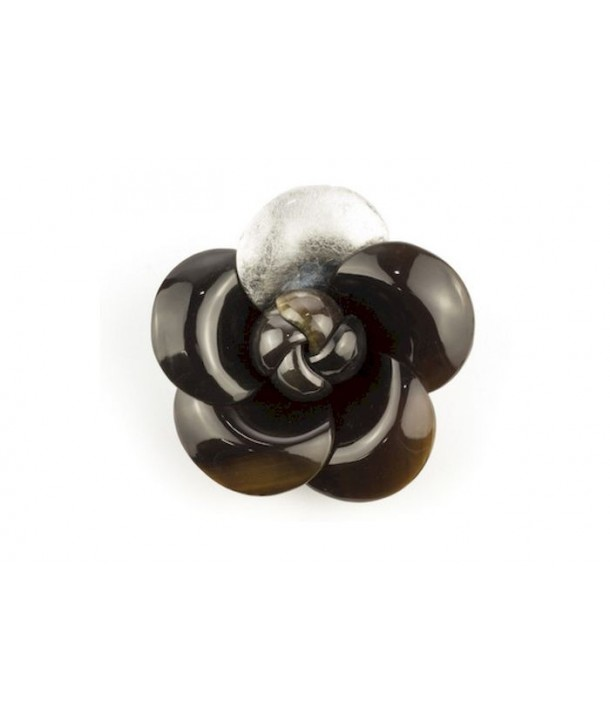 Silver lacquered camellia brooch