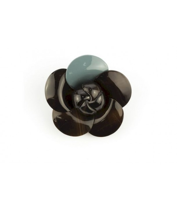 Gray blue lacquered camellia brooch