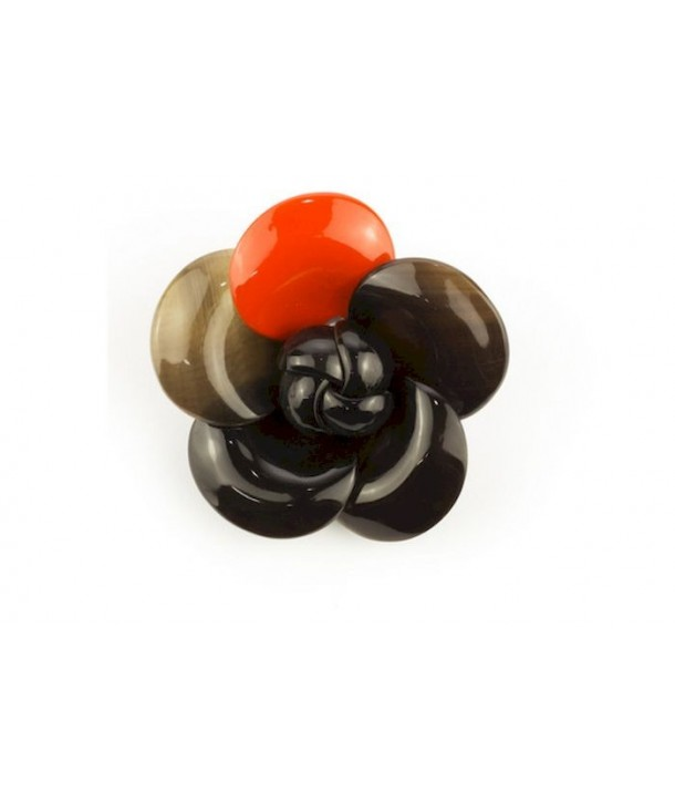 Orange lacquered camellia brooch