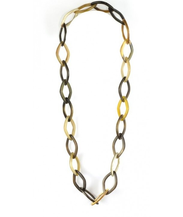 Diamond-shape rings long necklace in cow horn