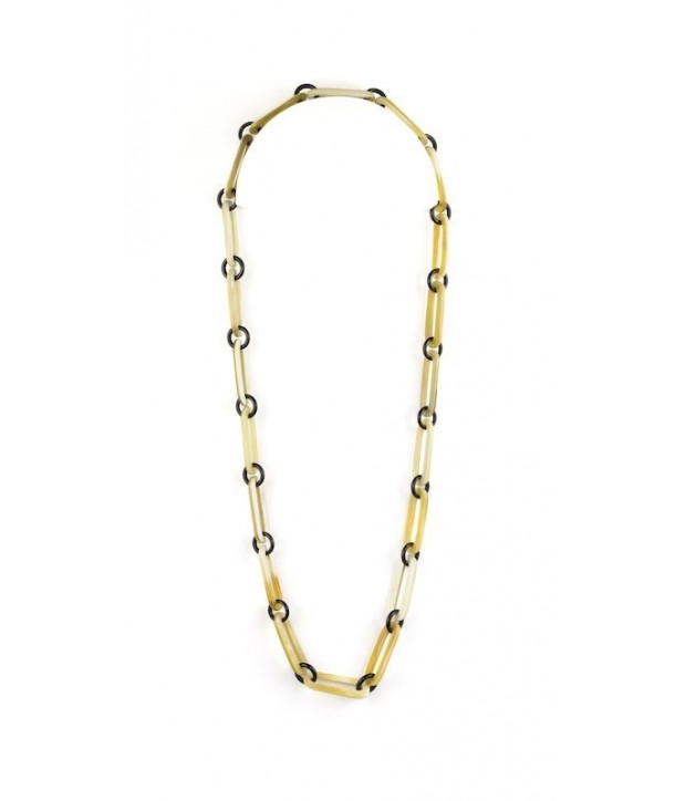 Oval and round rings long necklace in blond horn
